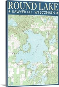 Round Lake Chart Sawyer County Wisconsin Retro Travel