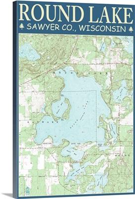 Round Lake Chart - Sawyer County, Wisconsin: Retro Travel Poster