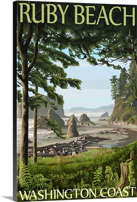 Ruby Beach, Washington Coast: Retro Travel Poster