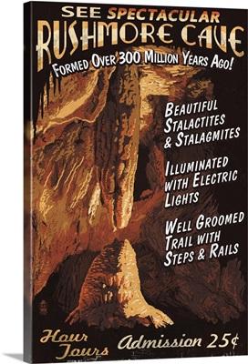 Rushmore Cave - Keystone, South Dakota - Vintage Sign: Retro Travel Poster