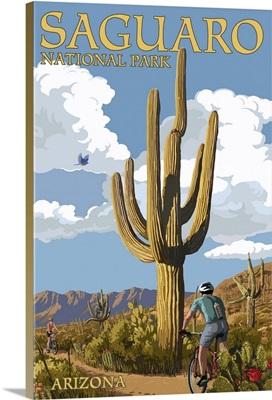 Saguaro National Park, Arizona - Bicycling Scene: Retro Travel Poster