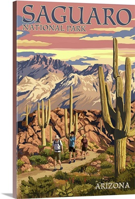 Saguaro National Park, Arizona - Hiking Scene: Retro Travel Poster