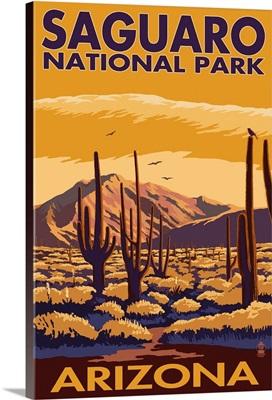 Saguaro National Park, Arizona: Retro Travel Poster