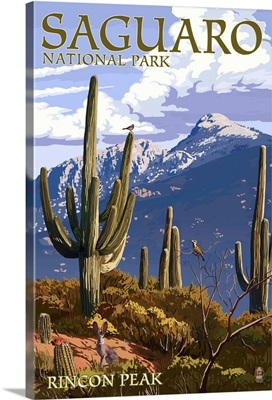 Saguaro National Park, Arizona - Rincon Peak: Retro Travel Poster