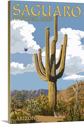 Saguaro National Park, Arizona - Roadrunner and Trail: Retro Travel Poster