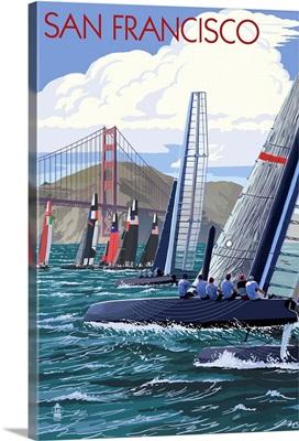 Sailboat Race - San Francisco, CA: Retro Travel Poster