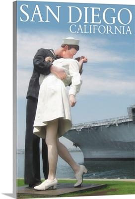 Sailor Sculpture at USS Midway - San Diego, California: Retro Travel Poster
