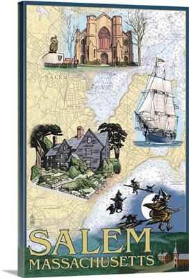 Salem, Massachusetts - Nautical Chart: Retro Travel Poster