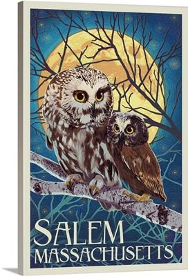 Salem, Massachusetts - Owl and Owlet - Letterpress: Retro Travel Poster
