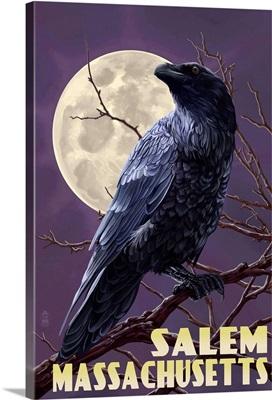 Salem, Massachusetts - Raven and Moon Purple Sky: Retro Travel Poster
