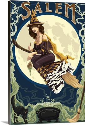 Salem, Massachusetts - Witch Scene: Retro Travel Poster
