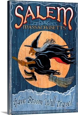Salem, Massachusetts - Witch Vintage Sign: Retro Travel Poster