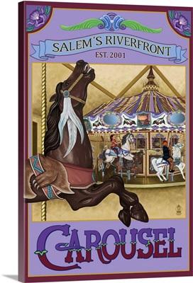 Salem's Riverfront Carousel, Oregon: Retro Travel Poster