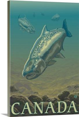 Salmon View - Canada: Retro Travel Poster