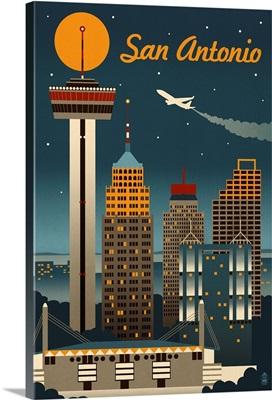 San Antonio, Texas - Retro Skyline: Retro Travel Poster