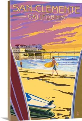 San Clemente, California - Beach and Pier: Retro Travel Poster