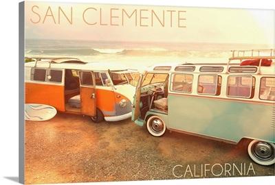 San Clemente, California, VW Vans on Beach