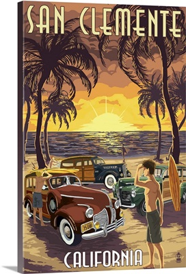 San Clemente, California - Woodies and Sunset: Retro Travel Poster