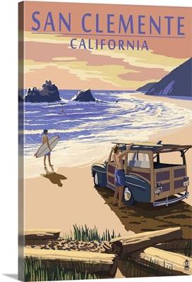 San Clemente, California - Woody on Beach: Retro Travel Poster