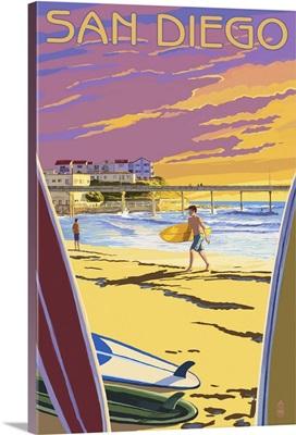 San Diego, California - Beach and Pier: Retro Travel Poster