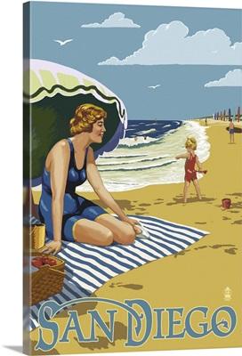 San Diego, California - Beach Scene: Retro Travel Poster