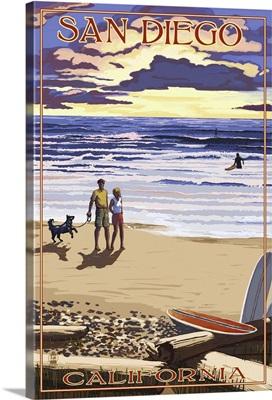 San Diego, California Beach Walk and Surfers: Retro Travel Poster