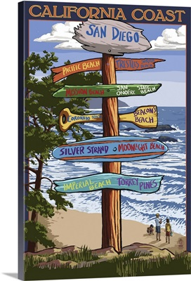 San Diego, California - Destination Sign: Retro Travel Poster
