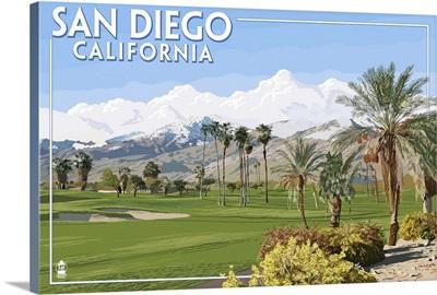 San Diego, California - Golf Course Scene: Retro Travel Poster