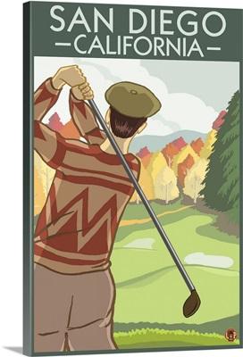 San Diego, California - Golfer: Retro Travel Poster