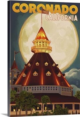 San Diego, California - Hotel Del Coronado and Moon: Retro Travel Poster