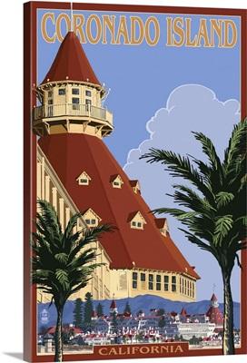 San Diego, California - Hotel Del Coronado: Retro Travel Poster