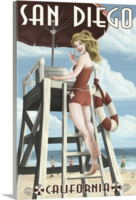 San Diego, California - Lifeguard Pinup: Retro Travel Poster