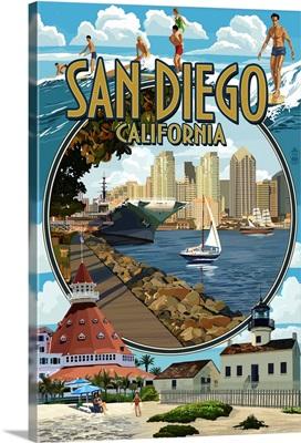 San Diego, California Montage: Retro Travel Poster