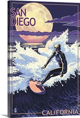 San Diego, California - Night Surfer: Retro Travel Poster