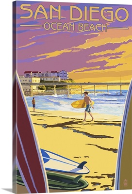 San Diego, California - Ocean Beach: Retro Travel Poster