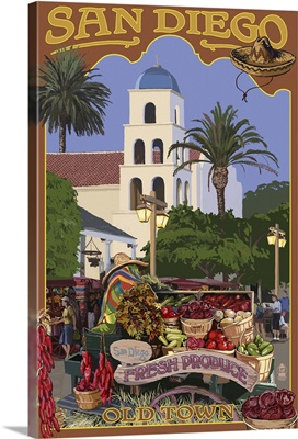 San Diego, California - Old Town: Retro Travel Poster