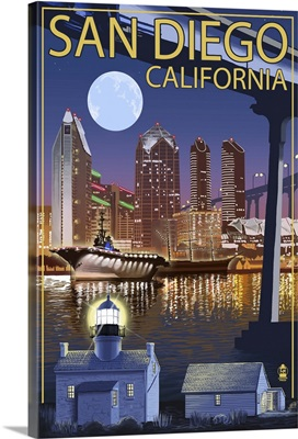 San Diego, California - Skyline at Night: Retro Travel Poster