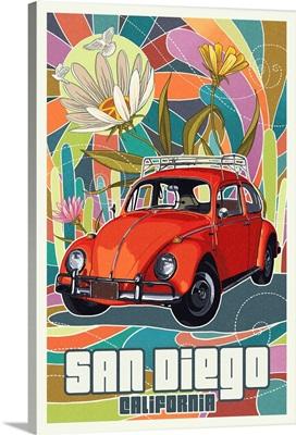 San Diego, California - VW Bug Letterpress: Retro Travel Poster