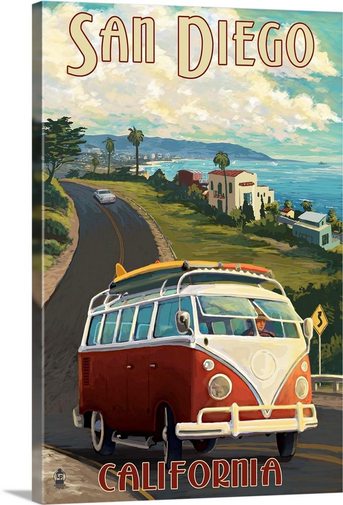 Vw San Diego >> San Diego California Vw Van Cruise Retro Travel Poster