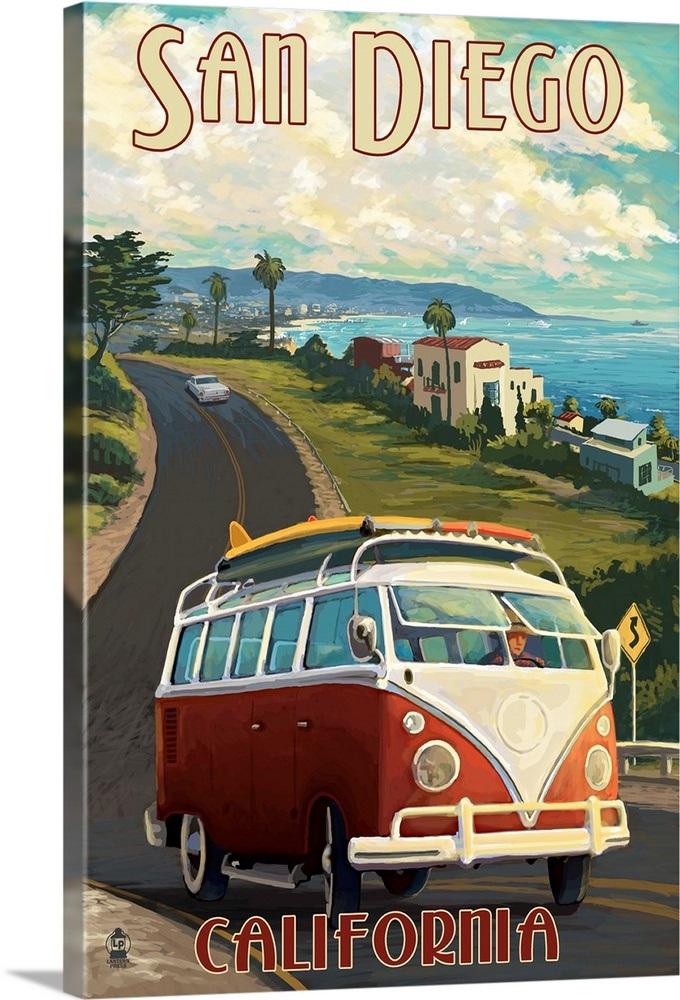 San Diego California Vw Van Cruise Retro Travel Poster