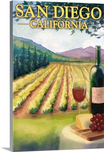 San Diego, California - Wine Country: Retro Travel Poster Wall Art ...