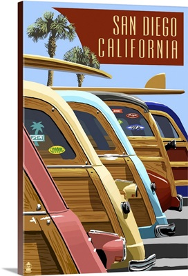 San Diego, California - Woodies Lined Up: Retro Travel Poster