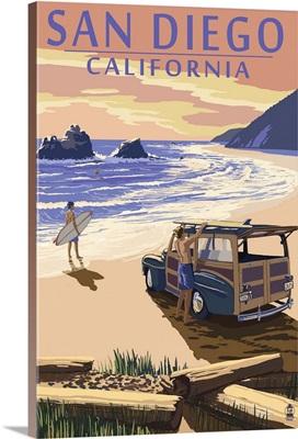 San Diego, California - Woody on Beach: Retro Travel Poster