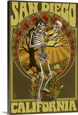 San Diego, - Day of the Dead: Skeleton Holding Sugar Skull: Retro Travel Poster