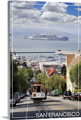 San Francisco, California - Cable Car and Alcatraz Island