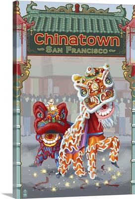 San Francisco, California - Chinatown: Retro Travel Poster