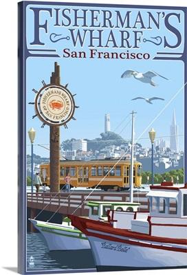 San Francisco, California - Fisherman's Wharf: Retro Travel Poster