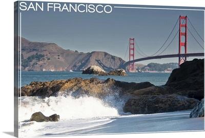 San Francisco, California - Golden Gate Bridge and Beach