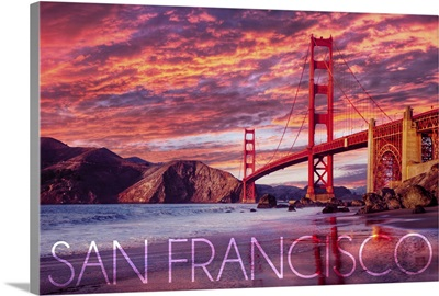 San Francisco, California, Golden Gate Bridge and Sunset