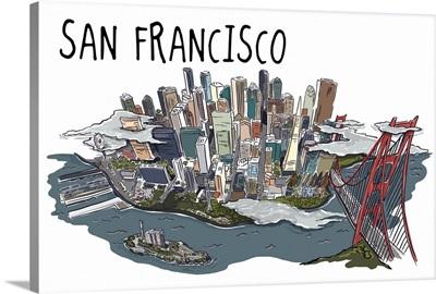 San Francisco California Line Drawing Lantern Press Artwork